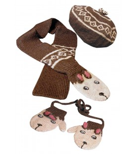 """Farm friends"" Hat, scarf and mittens Set - Alpaca wool"