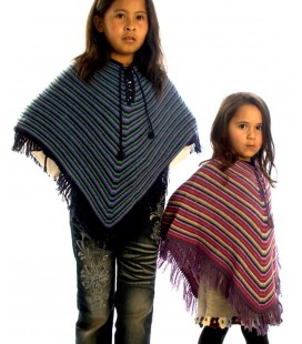 Vintage Poncho for kids - 100% Alpaca wool