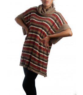 Autumn-striped poncho - 100% alpaca fiber