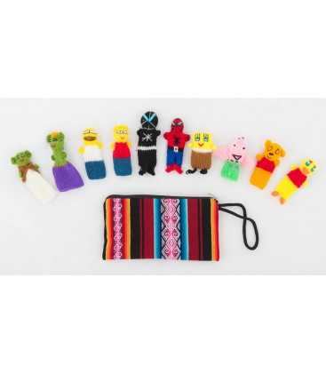 """Set of 10 """"Super Hero"""" finger puppets with case"""
