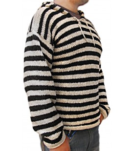 Hand made Hooded Pullover - Wool