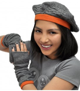 """""""Textures"""" Set: beret and wrist warmers - Pure Alpaca Wool"""