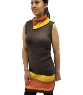 Knit tunic with asymmetric collar