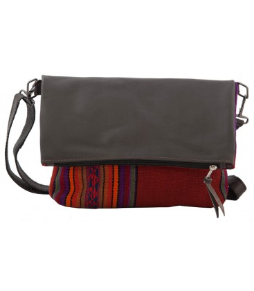 Aguayo and llama leather shoulder bag