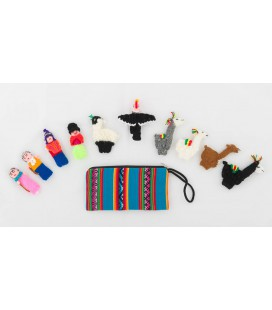 Set of 10 Andean finger puppets with case