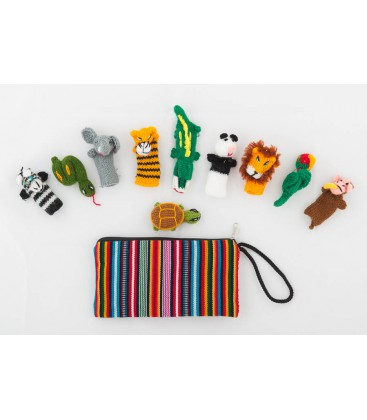"Set of 10 "" Jungle"" finger puppets with case"