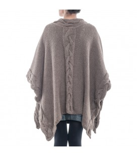 100% Alpaca, Hand-knit Ruana Poncho with cable stitch