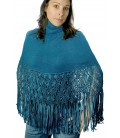 High neck Poncho with macrame - Alpaca Wool
