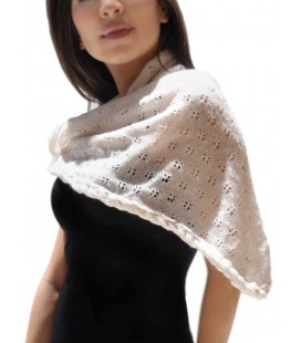 Triangular Openwork Scarf - Pure Alpaca Wool