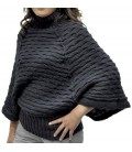 Honeycomb Pullover Poncho Double-Sided - Alpaca Wool
