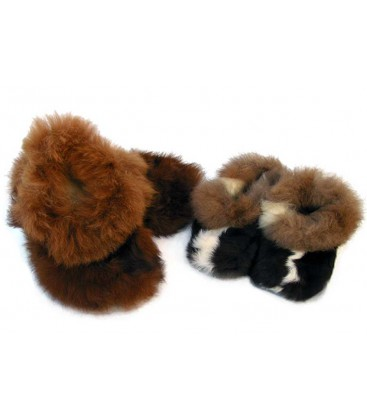 Plush Slippers for Children - Alpaca Fur
