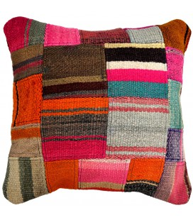 Rustic woven patchwork cushion