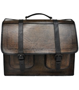 Schoolbag Briefcase with 2 pockets - Genuine Leather